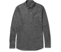 Button-down Collar Checked Brushed-cotton Shirt
