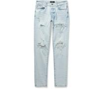 MX1 Skinny-Fit Bandana-Print Leather-Panelled Stretch-Denim Jeans
