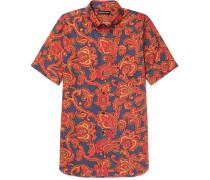 Button-down Collar Paisley-print Cotton Shirt