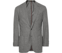 Grey Puppytooth Virgin Wool And Cashmere-blend Blazer