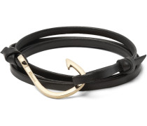 Grained-leather And Gold-plated Hook Wrap Bracelet