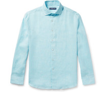 Cutaway-collar Mélange Slub Linen Shirt