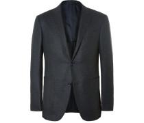 Blue Milano Slim-fit Mélange Wool And Silk-blend Blazer