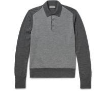 Contrast-panelled Wool Polo Shirt