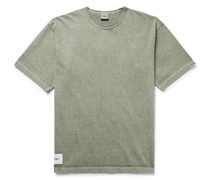 Sign Logo-Appliquéd Embroidered Pigment-Dyed Cotton-Jersey T-Shirt
