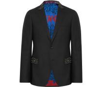 Black Slim-fit Bead-embellished Wool Tuxedo Jacket