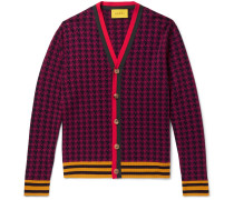 Webbing-trimmed Houndstooth Wool Cardigan