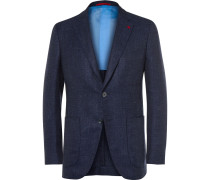 Blue Slim-fit Wool, Silk And Linen-blend Blazer
