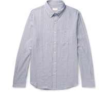 Slim-fit Button-down Collar Herringbone Stretch-cotton Shirt