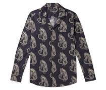 Sansindo Camp-Collar Printed Organic Cotton-Poplin Pyjama Shirt