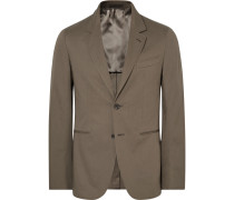Brown Butterfly Slim-fit Unstructured Stretch-cotton Suit Jacket