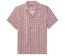 Thomas Camp-Collar Striped Linen Shirt