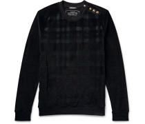 Embellished Checked Velour Sweatshirt