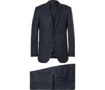 Blue Cool Effect Slim-fit Gingham Wool And Silk-blend Suit