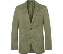 Green Slim-fit Cotton-twill Suit Jacket