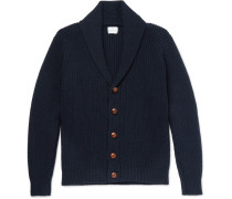 Shawl-collar Ribbed Wool And Cashmere-blend Cardigan