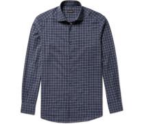 Slim-fit Windowpane-checked Cotton Shirt