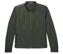 Intrecciato Leather-trimmed Shell Blouson Jacket