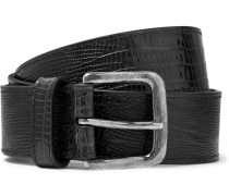 Snake-effect Leather Belt