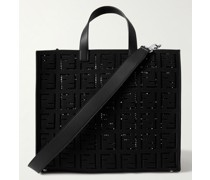 Logo-Embroidered Leather-Trimmed Cotton-Canvas Tote