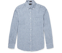 Slim-fit Button-down Collar Gingham Linen Shirt
