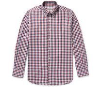 Button-down Collar Gingham Checked Cotton-poplin Shirt