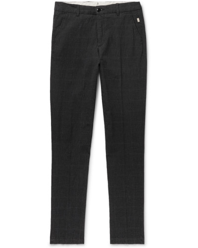 Slim-Fit Checked Seersucker Trousers