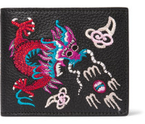 Embroidered Pebble-grain Leather Billfold Wallet