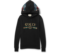 Glittered Embroidered Cotton-jersey Hoodie
