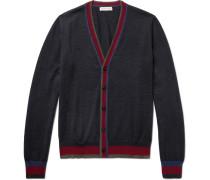 Contrast-trimmed Wool Cardigan