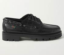 Smooth and Croc-Effect Leather Boat Shoes