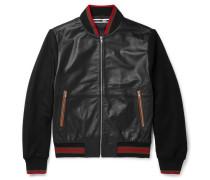 Panelled Leather Bomber Jacket