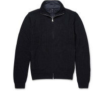 Layered Quilted Shell And Wool-blend Zip-up Sweater