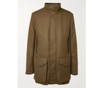Checked Herringbone Wool-Tweed Coat