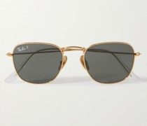 Frank Round-Frame Gold-Tone Titanium Polarised Sunglasses
