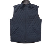 Marlin Reversible Quilted Shell And Wool-blend Tweed Gilet