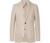 Sand Ross Slim-fit Unstructured Cotton And Linen-blend Twill Blazer - Sand