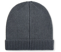 Ribbed Garment-dyed Virgin Wool, Silk And Cashmere-blend Beanie