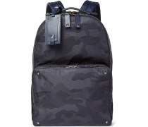 Leather-trimmed Camouflage-jacquard Backpack