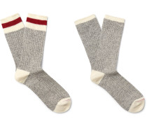 Two-pack Ribbed Cotton-blend Socks