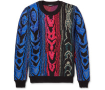 Jacquard-knit Cotton-blend Sweater