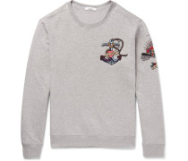 Embellished Loopback Cotton-blend Jersey Sweatshirt