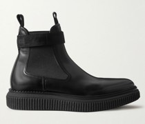 Webbing-Trimmed Leather Chelsea Boots