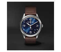 BR V1-92 Blue Steel Automatic 38.5mm Steel and Leather Watch, Ref. No. BRV192-BLU-ST/SCA