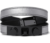 Rhodium-plated And Metallic Full-grain Leather Bracelet