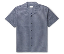Canty Camp-Collar Indigo-Dyed Linen and Cotton-Blend Shirt