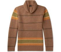 Shawl-collar Striped Lambswool Sweater