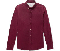 Slim-fit Button-down Collar Cotton-corduroy Shirt