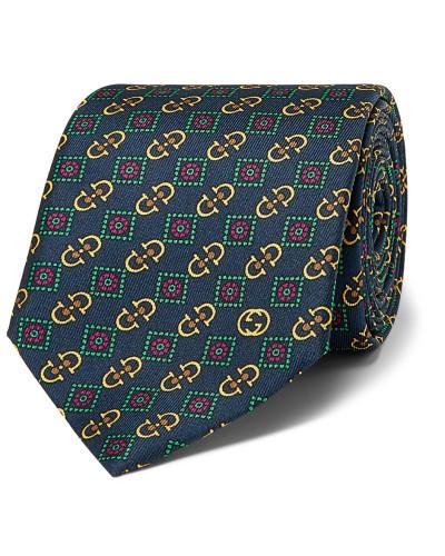 7cm Printed Silk-twill Tie - Navy
