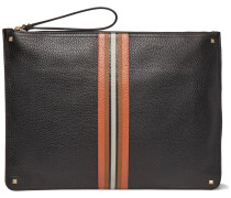 Striped Grained-leather Pouch